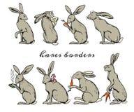 Hares border set Royalty Free Stock Photo