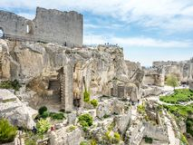 Hares` Burrow in Les Baux-de-provence, France. Hares` Burrow, or `'trou aux lièvres`, is fortress built into rocky mountains in Les Baux-de-provence in France Royalty Free Stock Image