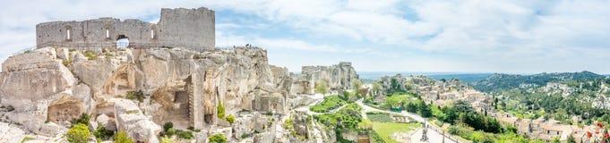 Hares` Burrow in Les Baux-de-provence, France. Hares` Burrow, or `'trou aux lièvres`, is fortress built into rocky mountains in Les Baux-de-provence in France Stock Photo