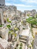Hares` Burrow in Les Baux-de-provence, France. Hares` Burrow, or `'trou aux lièvres`, is fortress built into rocky mountains in Les Baux-de-provence in France Stock Images