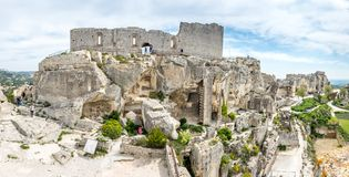 Hares` Burrow in Les Baux-de-provence, France. Hares` Burrow, or `'trou aux lièvres`, is fortress built into rocky mountains in Les Baux-de-provence in royalty free stock photo