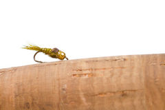 Hares Ear Nymph on Fly Rod Stock Image