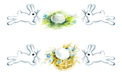 Hares and eggs. Watercolor hand drawing illustration royalty free illustration