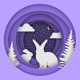Hares in the forest in the snow. Christmas, New Year`s illustration. Paper style. Eps 10 Stock Photo
