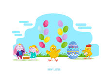 Hares keep basket with an Easter egg, chick with balloons. Happy easter greeting card. Lovely hares keep a basket with an Easter egg, a chick with balloons, a Stock Photography