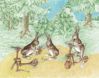 Hares on a scooter. The hares repair the bicycle at the scooter Stock Image