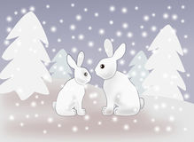 Hares in the Snow. Two hares sitting together in the forest when the snow is falling Stock Images