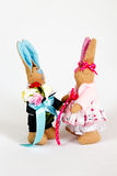 Hares soft skeleton handmade toys Stock Images