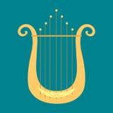 Harfy ikony złotego nawleczonego instrumentu muzycznego orkiestry sztuki klasycznego dźwięka narzędziowej i akustycznej symfoni n ilustracja wektor