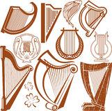 Harfy kolekcja ilustracja wektor
