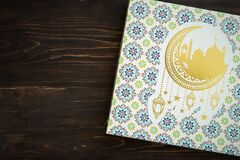 Free Hari Raya Gift Box On A Wooden Background Stock Images - 183531234