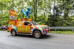 Haribo车-环法自行车赛2014年 免版税库存图片