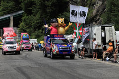 Haribo cars. Beost,France,July 15th 2011: Haribo cars during the passing of the advertising caravan on the category H climbing route to mountain pass Abisque in Stock Images
