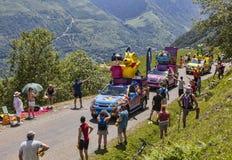 Haribo-Fahrzeuge in Pyrenäen Stockfotografie