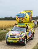 Haribo Vehicle on a Cobblestone Road- Tour de France 2015 Royalty Free Stock Images
