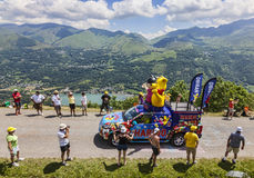 Haribo Vehicle in Pyrenees. Col de Val Louron-Azet, France- July 07,2013: Haribo vehicles during the passing of the advertising caravan on  the road to Col de Royalty Free Stock Image