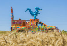 Haribo Vehicle - Tour de France 2016. Saint-Quentin-Fallavier, France - July 16, 2016: Haribo vehicle during the passing of Publicity Caravan in a wheat plain in Stock Image