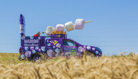 Haribo Vehicle - Tour de France 2016. Saint-Quentin-Fallavier, France - July 16, 2016: Haribo vehicle during the passing of Publicity Caravan in a wheat plain in Royalty Free Stock Photography