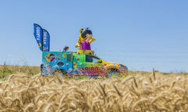 Haribo Vehicle - Tour de France 2016. Saint-Quentin-Fallavier, France - July 16, 2016: Haribo vehicle during the passing of Publicity Caravan in a wheat plain in Stock Photo
