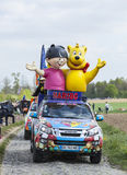 Haribo Vehicles during Paris Roubaix Cycling Race Stock Image