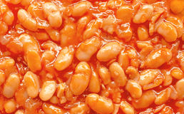Haricot bean. Beans in red sauce, closeup stock image