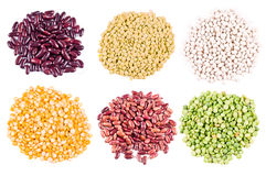 Haricot beans, peas and lentil. Different types of haricot beans, peas and lentil Stock Photo