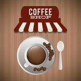 Haricot de cuillère d'assiette creuse de café illustration libre de droits