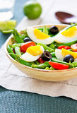 Haricot vert avec de la salade de bec d'ancre instantané et d'oeufs Photo libre de droits