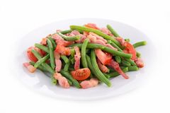 Haricot vert, lard et tomate photos stock