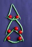 Haricot vert och tomat Royaltyfria Foton