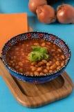 Haricotbönan är turkisk traditionell mat med lökar Fotografering för Bildbyråer