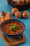 Haricotbönan är turkisk traditionell mat med lökar Royaltyfri Foto