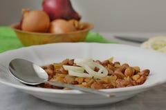 Haricots cuits à l'oignon Image stock