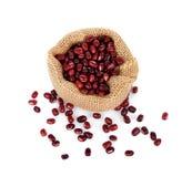 Haricots d'Adzuki, haricots d'Azuki, haricots rouges dans le sac sur le fond blanc images stock