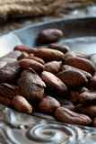 Haricots de cacao (cacao) Images libres de droits
