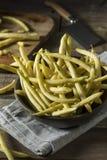Haricots de cire jaunes organiques crus Images libres de droits