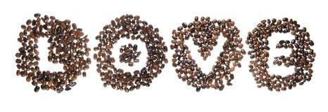 Haricots de Coffe employés pour orthographier l'amour de mot Images libres de droits