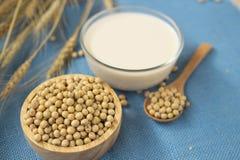 Haricots de soja, lait de soja dans le plancher bleu de cuillère en verre et en bois images stock