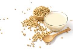 haricots de soja, lait de soja et cuillère en bois d'isolement sur le backgro blanc images stock
