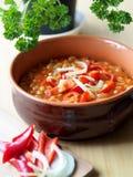 Haricots en sauce tomate dans une cuvette brune images libres de droits