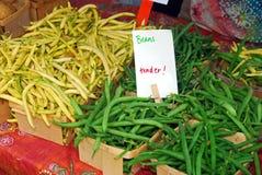 Haricots frais au marché Photo libre de droits