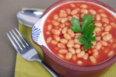 Haricots sur la tomate Photographie stock libre de droits