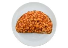 Haricots sur le pain grillé Images libres de droits