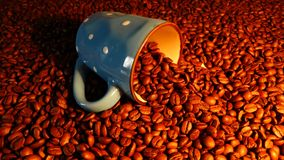 Haricots transparents de tasse et de coffe, expresso de Coffe Images libres de droits