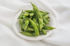 Haricots verts bouillis de soja photographie stock libre de droits