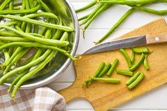 Haricots verts coupés Photos stock