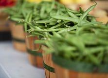 Haricots verts dans les paniers au marché de fermiers Image libre de droits
