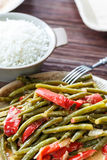 Haricots verts et riz image stock