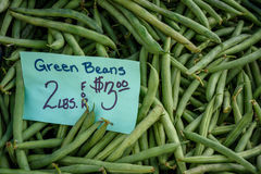 Haricots verts frais de achat de saison au farmstand local Photo libre de droits