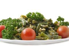 Haricots verts frits avec des oeufs Image libre de droits